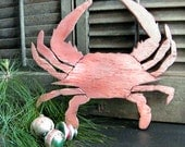 Crab Distressed Copper Sign Holiday Sign Wooden Sign Home Decor