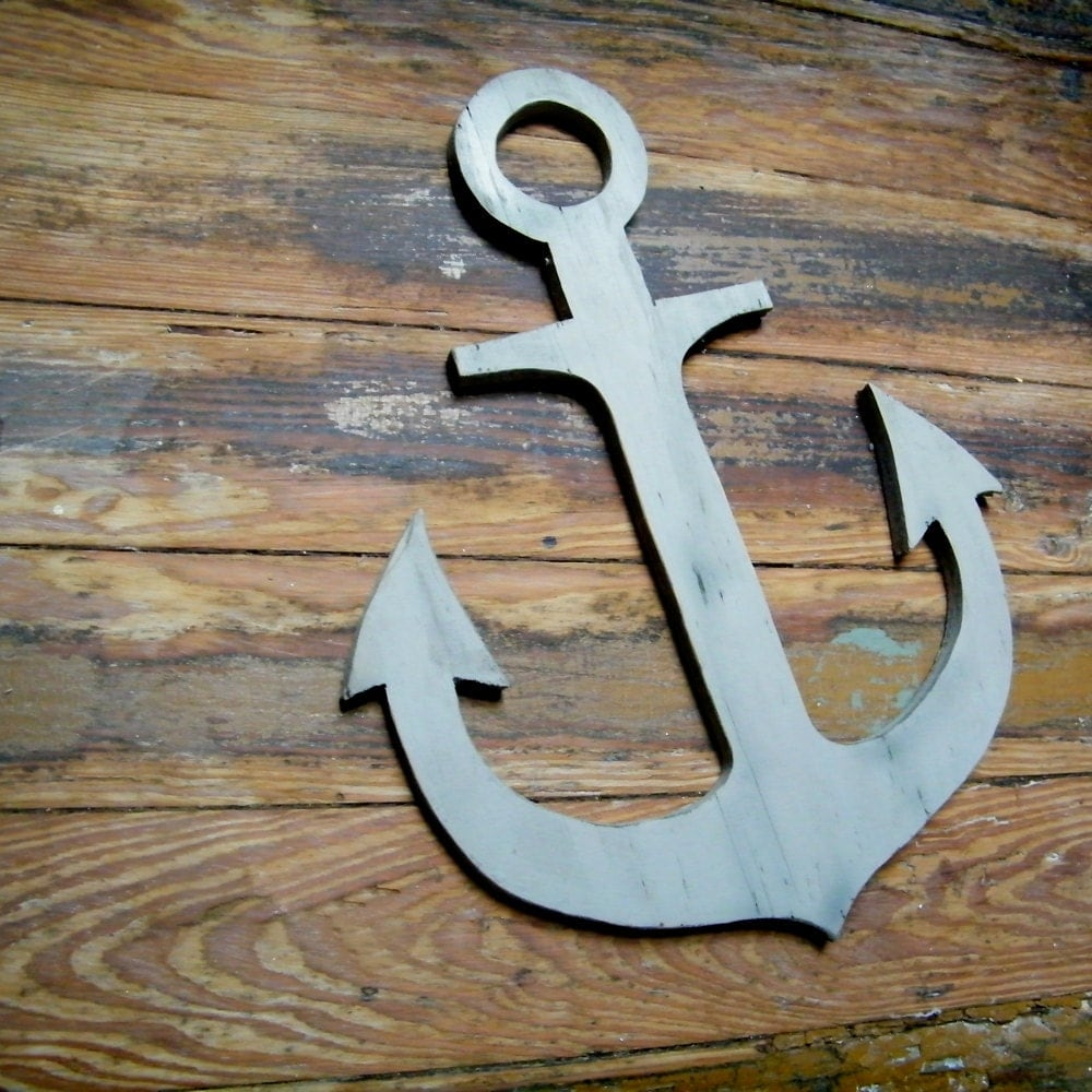 Anchor wooden nautical distressed beach coastal lake wall for Anchor decoration
