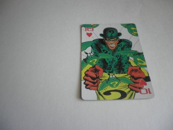 single BATMAN playing card - begin a collection . vintage Riddler