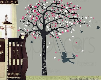 Nursery Tree Decal Girls Decal Kids Room Decor Wall Sticker- Girl Plays Swing - Designed by Popdecors