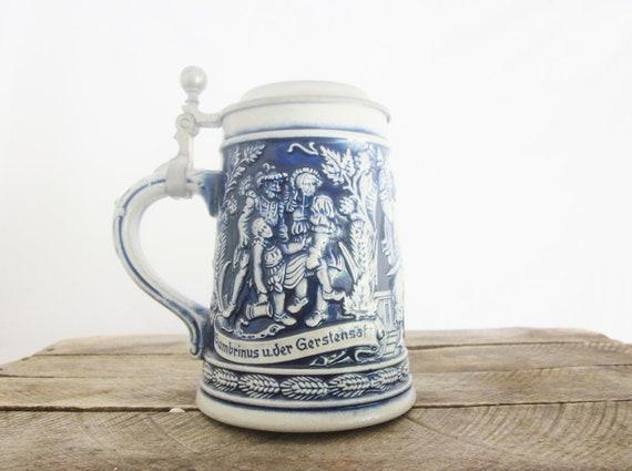Vintage Rein Zinn Pewter Beer Stein Blue Cobalt Ceramic Medieval German Barware Steampunk Goth
