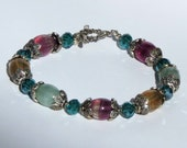 Rainbow Fluorite Bracelet with Crystal and Sterling Silver