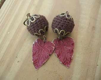 Woodland Crochet Earrings Red Leaves with Brown Crochet Beads