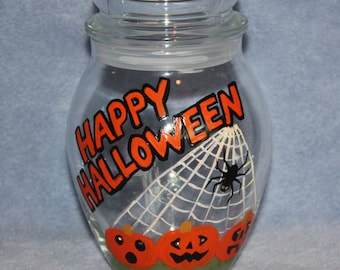Handpainted Glass Halloween Candy Jar with Jack O Lanterns and a Black Spider