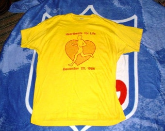 1986 Heartbeats For Life vintage t shirt large Screen Stars label VTG