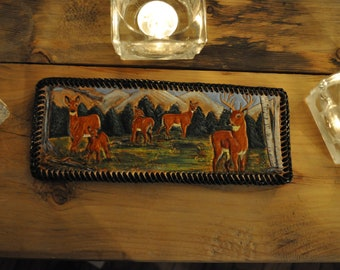 Whitetail deer scene on Hand carved Leather men's wallet
