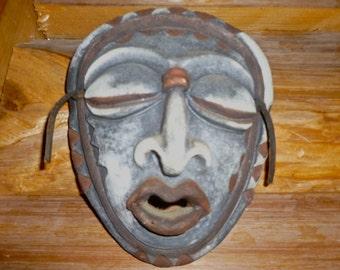 Vintage Collectible Earthen Mask Art doe-eyed Vintage Spiritual Tribal Mask Vintage Mask exotic Mask Clay Mask Hand painted Mask Black Mask