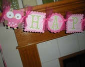 Open Eyed Owl Happy Birthday Banner Photo Prop Matching Tissue Pom Poms Available