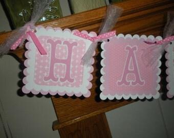 Birthday Banner, 1st Birthday Banner,Pretty in Pink Happy Birthday Party Banner, Pink White Birthday Banner