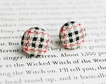 Tartan Button Earrings | Plaid | Nickel Free