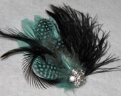 Sky Blue Aqua Goose Feather Black Ostrich Feather Boutique Bridal Hair Clip Fascinator Photp Prop