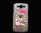 Bling Rhinestone Crystal Pink Flower Heart Back Case Cover for Samsung i9300 T999 Galaxy S3 SIII T-Mobile DP