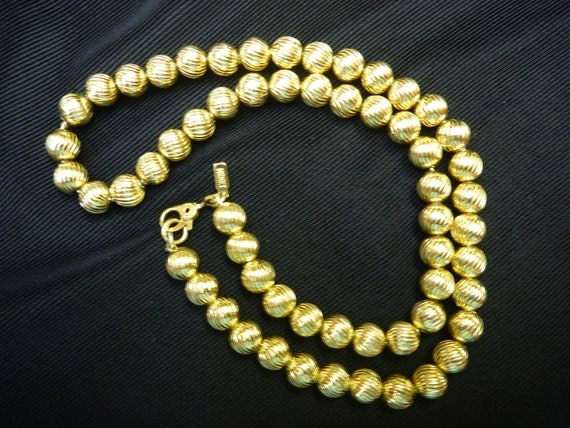 vintage monet gold bead necklace