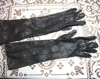 Long Vintage Brown Leather Gloves -  Small