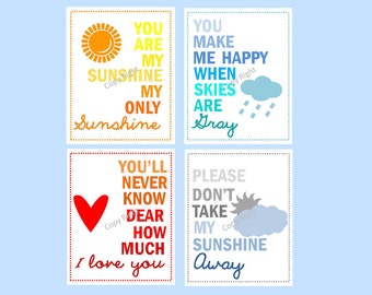 You Are My Sunshine Art Prints // Colorful Nursery Decor // Modern Nursery Wall Art // Art for Kids Room // Set of Four PRINTS ONLY
