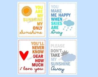 You Are My Sunshine Art Prints // Colorful Nursery Decor // Modern Nursery Wall Art // Art for Kids Room // Set of Four PRINTS ONLY