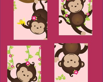 Monkey art for kids Nursery Art for girl or boy, Set of Four 5x7 prints, PRINTS ONLY. Great for nursery, or toddler room, or as a gift, boy/
