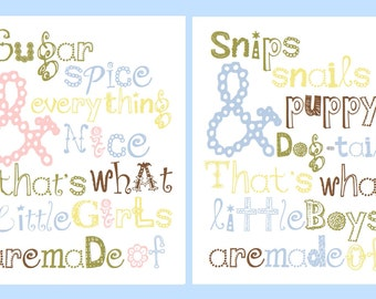 """Snips and Snails Sugar and Spice 2-11x14"""" Nursery twin prints, great for nursery, or playroom, or as a gift, matches boy or girl decor"""