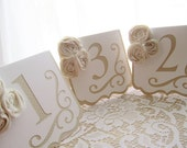 Rustic and Elegant Freestanding Wedding Table Numbers - Ivory and White w/ Ivory Rosettes- Wedding Table Cards - Wedding Table Signs -Tented