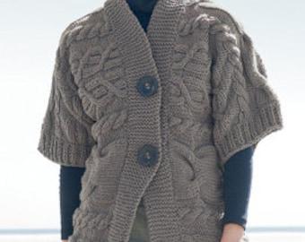 Hand Knit cardigan, hand knit cardigan, hand knit jacket, button up kimono style jacket