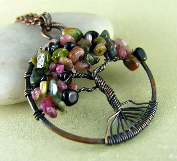 Tree Of Life Pendant Wire Wrapped Necklace Tourmaline Copper Necklace Tree of Life Necklace Wire Wrapped Pendant Watermelon Tourmaline