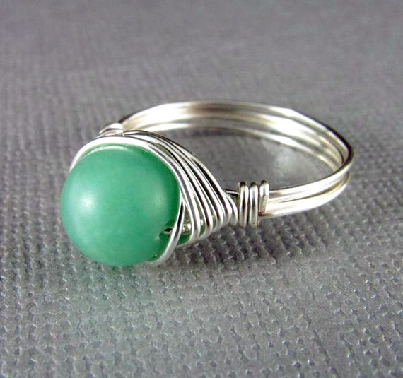 wire wrapped ring mint green amazonite gemstone ring wire