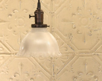 Pendant with Vintage Holophane Glass Shade and Exposed Socket
