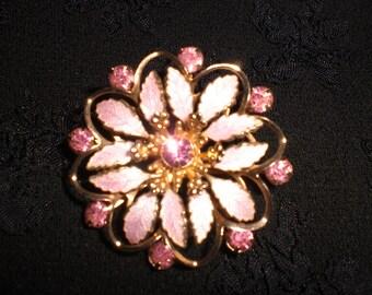 Vintage Pink Rhinestone Enamel Flower Gold Tone 1960s Pin Brooch Guilloche