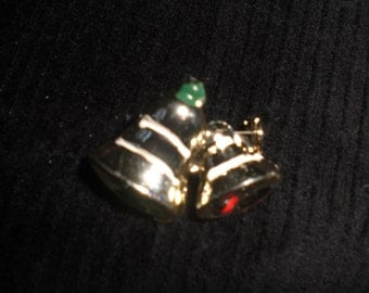 Vintage Tiny Pin Christmas Bells Brooch Teenie Little 1960s Enamel Holiday Red Green White Gold Tone Scatter Pin
