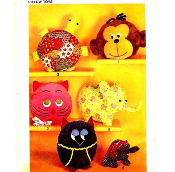 Simplicity 9740 Pillow Toys Monkey Turtle Cat Owl Can Be Pajama bags Elephant Frog Christmas Gift Uncut- 3