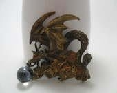 Vintage Brooch / Pin Signed JJ Dragon with Glass Crystal Ball Bronze / Gold Tone Metal Mythical / Gothic Retro 1980s