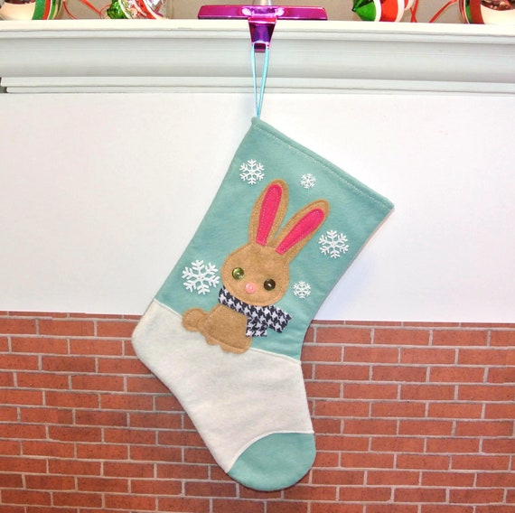 Sale Rabbit Christmas Stocking In Aqua Blue By By