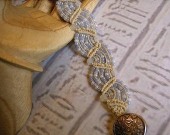 Micro macrame bracelet in hemp and pale blue. Macrame jewelry.