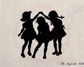 Clip Art Design Transfer Digital File Vintage Download DIY Scrapbook Shabby Chic Pillow Burlap Little Girls Playing Silhouette Art No. 0443
