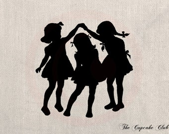 Clip Art Design Transfer Digital File Vintage Download DIY Scrapbook Shabby Chic Pillow Burlap Little Girls Playing Silhouette Art No. 0443