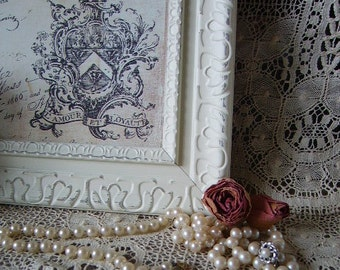 French Country Style, Shabby Baroque  Frame 8 x 10, creamy white, distressed, chippy, ornate