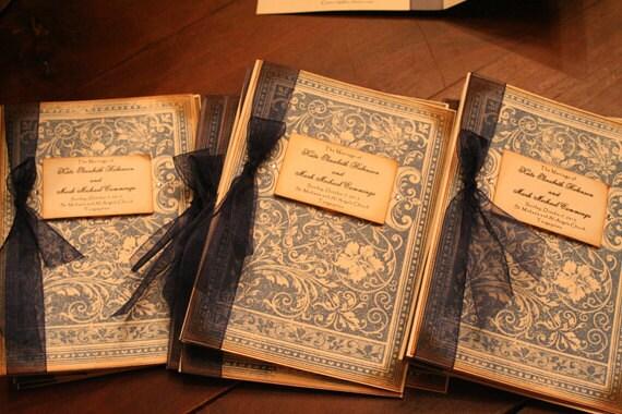 Vintage Wedding Program Book Ornate Bookcover Pattern