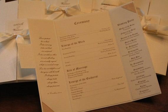 Items Similar To Wedding Program Book Ceremony Order Of Service Scripture Classic Textured Ivory Platnium Romantic Tri Fold