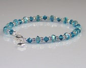 Aqua Teal Crystal Beaded Bracelet