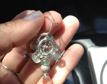 White Topaz, Fluorite, Silver Earrings, Silver jewelry
