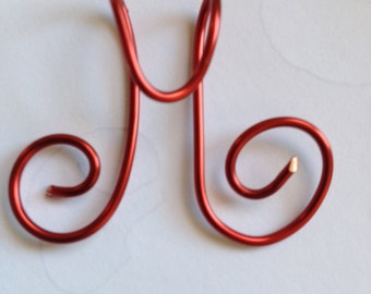 Letter M, Cursive, Capital M, Red wire, Lilyb444, Etsy jewelry, Christmas ornament