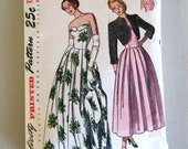 1940s Evening Dress & Jacket Pattern, Simplicity 2442, Womens Formal Prom Dress Sewing Pattern Strapless or Shoulder Straps Size 12 Bust 30