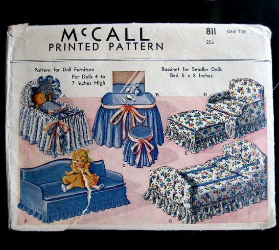 McCall 811 1940 Doll Furniture Pattern UNCUT 4 5 6 7 inch tall Sofa Bed Vanity Chair Ottoman Bassinette etc. Printed Pattern