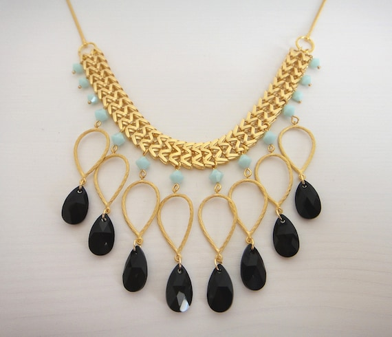 Gold, black and turquoise (swarovski) statement necklace