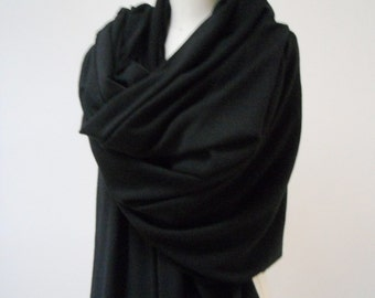 MARIA SEVERYNA Blanket Scarf - Black Jersey Oversized Shawl - Ready to ship