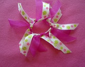 Hot Pink Flowers Ribbon Hair Tie - Custom Order