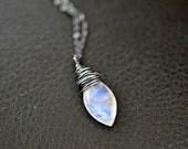 Moonstone Necklace, Teardrop Briolette, Oxidized Sterling Silver, Gemstone Jewelry,June Birthstone, White Feritility, Rainbow Moonstone AAAA