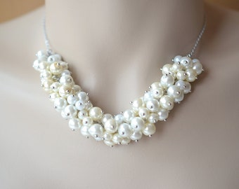White Ivory Cream Cluster Pearl Necklace, Pearl Necklace, Bridal Jewelry, Chunky Pearl Necklace, Cluster Necklace, Chic, Bridesmaid Necklace