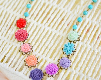 Shabby Chic Flower Necklace,Daisy Rose Flower Pendant,Pastel Color Flower Necklace,Flora Charm Necklace,Turquoise Necklace, Sleeping Beauty