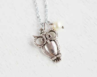 Owl Necklace, Silver Owl Jewelry, Pearl, Feathery Owl Pendant, Quirky Owl Necklace, Owl Animal Bird Jewelry Necklace, Minimalist Jewelry